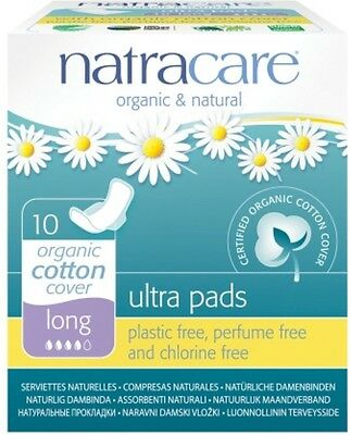 Natracare Ultra Pads, Wings Long 10 ea (Pack of 6)