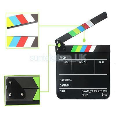 Clapperboard TV Film Movie Clapboard Black Board with Colorful Stripe Slate