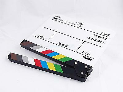 Clapperboard TV Film Movie Clapboard White Board with Colorful Stripe Slate