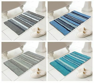 100% Cotton Multi Tonal Striped Bathroom Washable Bath Mat Soft Absorbent Pile