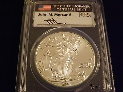 2015    Silver  Eagle  First Strike      Mercanti  Label      PCGS MS 70