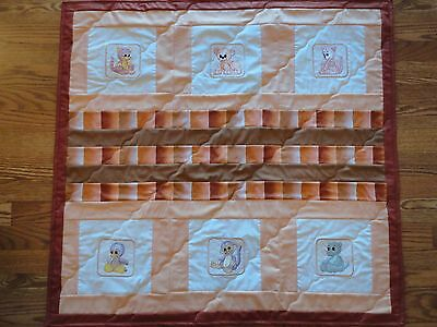 Baby Quilt for Boy, Handmade, Pieced and Embroidered Animals, 100% Cotton.