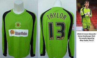 2010-11 Crewe Alexander Goalkeeper Shirt Signed by Rhys Taylor No.13 (10356)