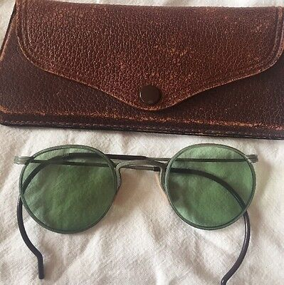 Antique 1920s Green American Optical Sunglasses Motorcycle Vintage With Case