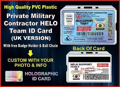 PRIVATE MILITARY CONTRACTOR (HELO TEAM UK) ID CARD Compare to: Blackwater PMC UK