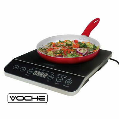 2000W Digital Induction Hob Hot Plate With 10 Temp Settings Single Black