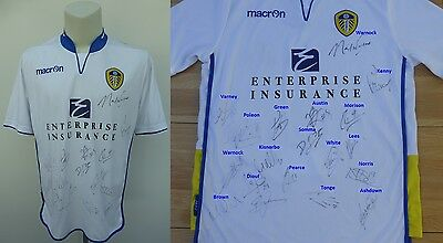 2012-13 Leeds United Home Shirt Signed by Squad - Complete Signature Map (10358)