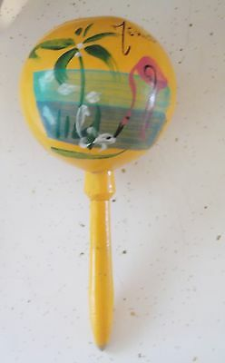 Old Vintage Mexico Mexican Spanish Maraca Hand Rattle Wood Pink Flamingo Shaker