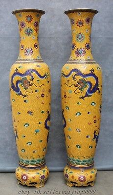 "40"" Chinese Cloisonne Bronze Palace Flower Fly Dragon Statue Vase Pot Pair"