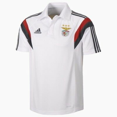 Benfica Mens adidas Polo Shirt White Football SLB Official Team Kit Top Tee NEW