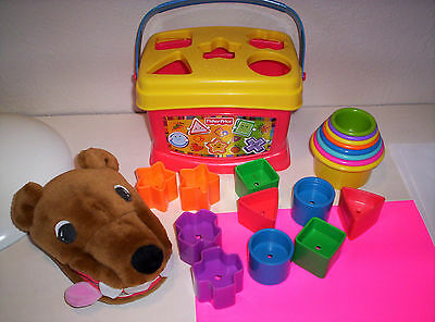Baby Toddler TOY LOT * FP BLOCK SHAPE SORTER, Stacking Cups, HAND PUPPET BOOK