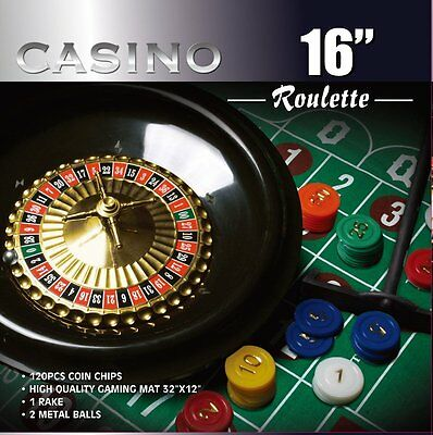 CASINO 16-Inch Roulette Wheel Game Set with 120 chips, Felt Layout, and Rake New