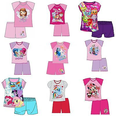 Girls Kids Baby Disney Pyjamas Short Sleeve T-Shirt & Shorts Set Age 1 - 6 Years