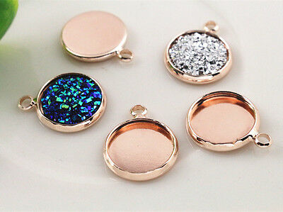 20pcs Rose Gold Cabochon Pendant Bases | 12mm