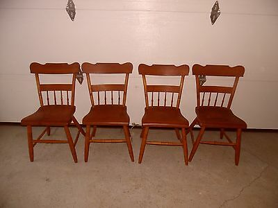 Set of 4 Plank Seat Chair Half Spindle Vintage Antique Dining Chairs