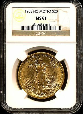 1908 No Motto G$20 Saint-Gaudens Gold Double Eagle MS61 NGC 3342633-014
