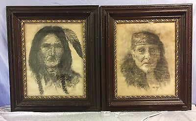 A Vintage 1940's pair of Native American Indian Charcoal Portraits by Jack West