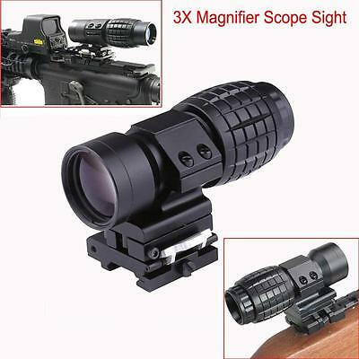 Tactical Hunting 3X Magnifier Scope Sight Flip To Side 20mm Rail Mount Scopes