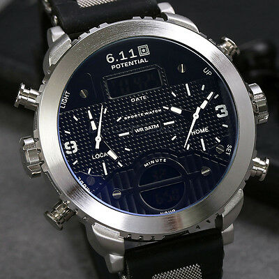 Fashion Men Date Silicone Band Dual Time Backlight Analog Army Sport Wrist Watch