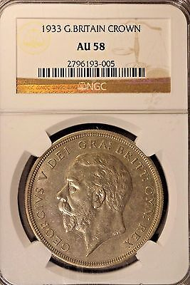 1933 Great Britain Crown Silver NGC AU 58             ** FREE U.S. SHIPPING **