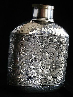 Antique Victorian Silver Plate Flask, engraved , cup/lid Meriden B Co. 8 oz.