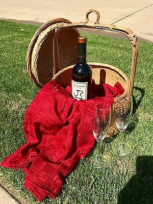 Vintage Antique Asian Chinese Wedding Oriental Picnic Bamboo Wicker Basket EXC!