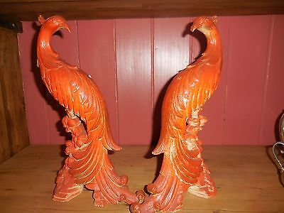 Two Vintage SYROCO Pheasant Peacock Figurines Mid Century
