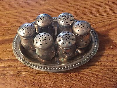 6 ANTIQUE WOLFENDEN MINI STERLING SILVER SALT AND PEPPER SHAKERS with HOLDER