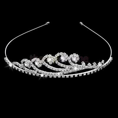 Shining Rhinestone Bridal Bridesmaids Head Band Wedding Tiara Crown Silver