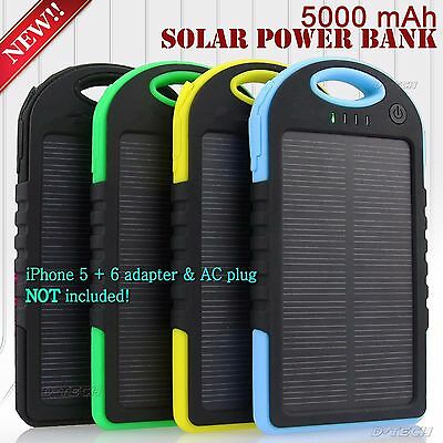 5000 mAh Dual-USB WATERPROOF SOLAR POWER BANK Battery Charger for Cell Phone New