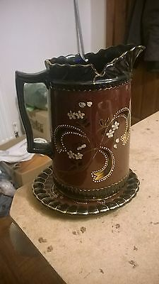 8 Inches Brown & Gold Jug With Ceramic Stand Underneath