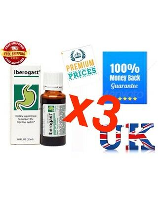 IBEROGAST 3×20ml  - for Dyspepsia, Bloating, Stomach Pain and Heartburn Brand