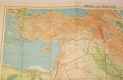 Vintage Bartholomew's Middle and Near East World Contoured Series Map Persia