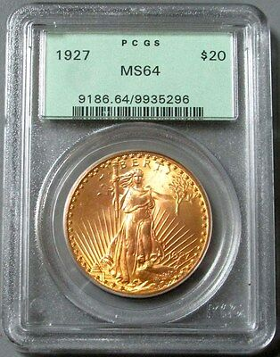 1927 Gold $20 Saint Gaudens Double Eagle Coin Green Label Pcgs  Mint State 64