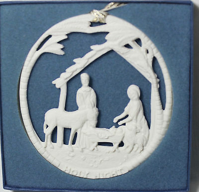 RARE Wedgwood O HOLY NIGHT White Christmas Tree Ornament, *BOXED* MSRP $129