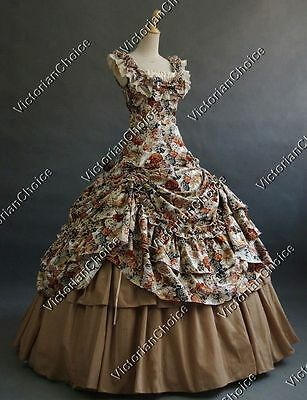 Victorian Belle Floral Princess Prom Dress Ball Gown Theater Clothing 081 XL
