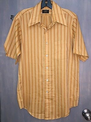 Vintage Penney's Towncraft Tapered Gold Stripe SS Shirt - Size Medium