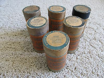 Lot of 6 ANTIQUE THOMAS EDISON BLUE AMBEROL CYLINDER PHONOGRAPH RECORDS Vintage