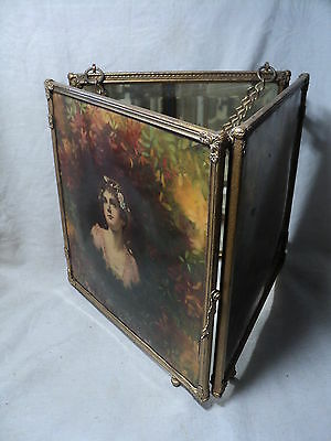 Antique Victorian TRI-FOLD Vanity Hanging Mirror Gilt w Celluloid Pretty Girl x