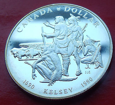 Rare Low Mintage SILVER DOLLAR  PROOF 1990 CANADA  HENRY KELSEY Mintage of  220K