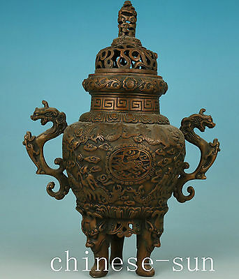 Big Chinese Old Bronze Hand Carving Dragon Collect Buddha Incense Burner