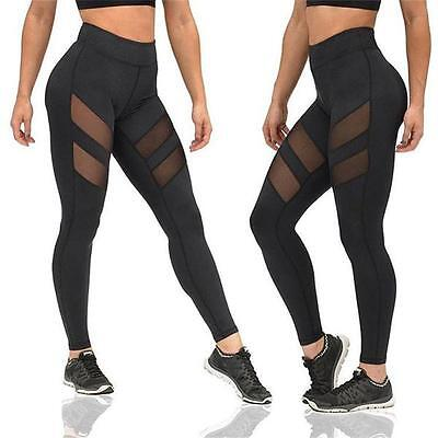 Womens Mesh Running Yoga Fitness Leggings Gym Exercise Sports Pants Trousers