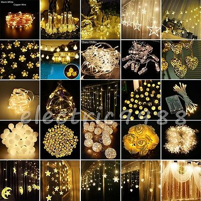 Solar/Electric/Battery Operated Wedding Xmas Warm White LED Fairy String Lights