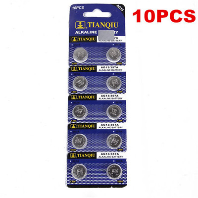 10PCS Alkaline AG13 LR44 SR44 L1154 357 A76 Batteries Button Cells Watch Camera