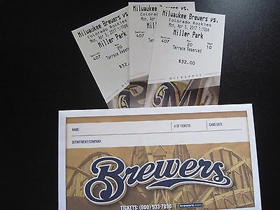 Milwaukee Brewers OPENING DAY TICKETS vs Colorado Rockies 04/03/17