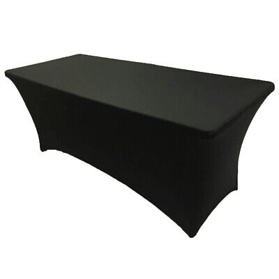 6' ft. Spandex Fitted Stretch Tablecloth Table Cover Wedding Banquet Party Black