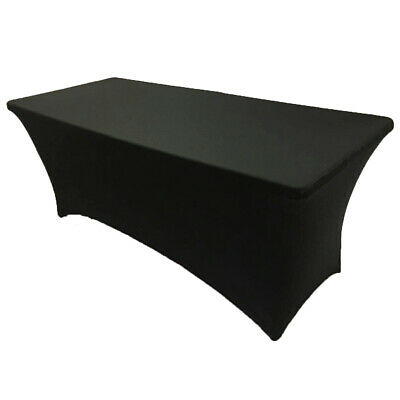 8' ft. Spandex Fitted Stretch Tablecloth Table Cover Wedding Banquet Party Black