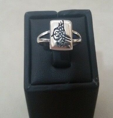 Turkish 925 Sterling Silver  Ring  with Ottoman Seal  Size 7,50 Wt; 4.4 g #237