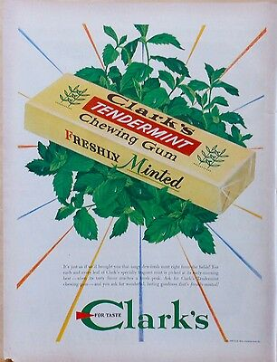 Vintage 1948 magazine ad for Clark's Tendermint Chewing Gum - mint leaves & gum