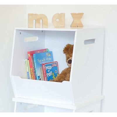 Hip Kids White Stackable Wooden Toy Storage Box Chest Children Toddler